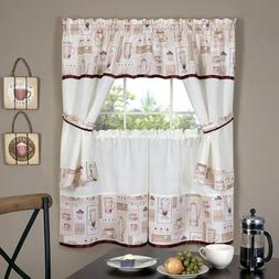 Achim Home Furnishings Cappuccino Embellished Cottage Window