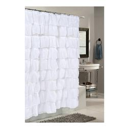 Carmen Crushed Voile Ruffled Tier Polyester Fabric Shower Cu