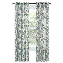 Colette Floral Window Curtain Panel with Grommets on Top for