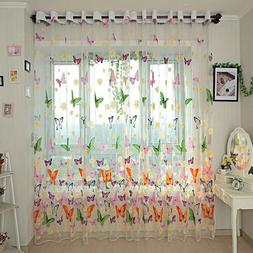 Colorful Printed Butterfly Window Tulle Voile Sheer Curtains