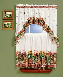 Country Garden Valance and Tier Set - Size: 24 H x 57 W x 2