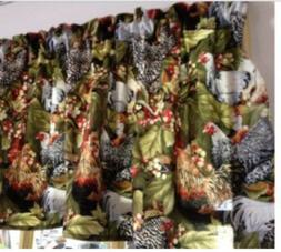 """Country  Kitchen Window Curtain Valance Chicken Rooster 42""""W"""