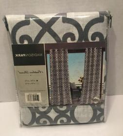 "Madison Park Crystal Fretwork Outdoor Curtain Panel 54"" W"