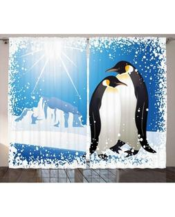 Ambesonne Curtain Panels Set of 2, Winter Penguin Snowy, 108