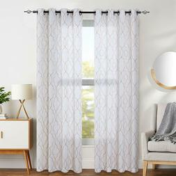 Curtains Moroccan Trellis Pattern Embroidered  Grommet Top f