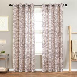 Damask Print Curtains for Living Room  Multicolor Medallion