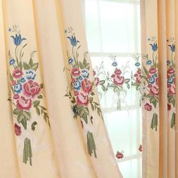 Delicate Pink Embroidery Curtain for Bedroom Beige Color Win