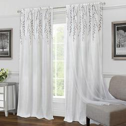 Embroidered Double-Layer Floral 2-Pack Window Curtain Rod Po