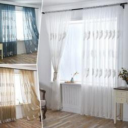 Embroidered Feather Sheer Curtains Window Voile Panels for B