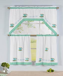 Window Elements Embroidered 3-Piece Kitchen Tier and Valance