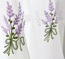 Embroidered Pink Lavender Flower Tulle Curtain For Living Ro