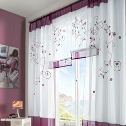 Embroidered Shaggy Sheer Voile Curtains For Living Room Bedr