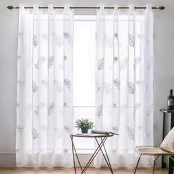 Embroidered Sheer Feather Curtains Window Voile Drape for Be