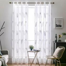 Embroidered Sheer Window Curtains Feather Design Window Voil