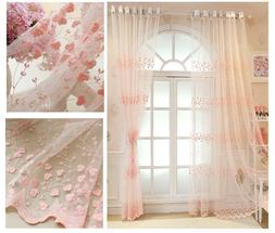 Embroidered Yellow Clover Lace Sheer Curtains Window Drapes