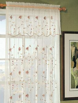Embroidery Roses Window Curtain Panel 2PCS New On Sale Creat