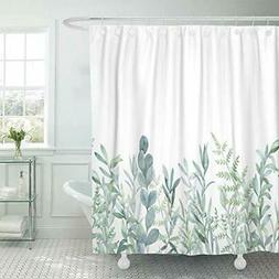 Shower Curtain With Hook Green Eucalyptus Waterproof For Bat