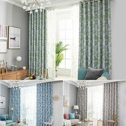 Fashion Leaves Pattern Blackout Curtains Grommet Curtain Win
