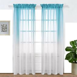 Faux Linen Sheer Curtains Semi Sheer for Living Room 2 Panel