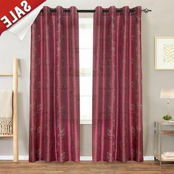Faux Silk Floral Embroidered Grommet Top Curtains for Living