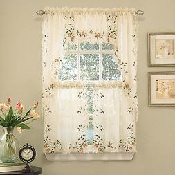 Floral Embroidered Semi-Sheer Linen Kitchen Curtain Choice T