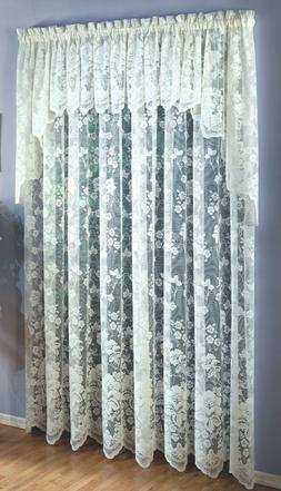 Floral Vine Lace Curtains - White or Ivory - Panels, Swags,