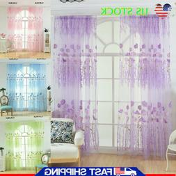 Floral Voile Net Curtain Panel Rod Pocket Flower Curtains Fo
