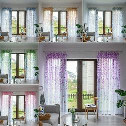 Floral Window Curtains Tulle Voile Sheer Scarf Room Door She