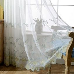 Flower Embroidered Sheer Curtains Beaded by Hand Lace Tulle