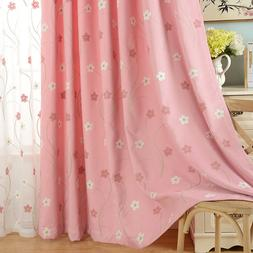 Flower Embroidered Sheer Curtains Tulle Blackout Cloth Shade