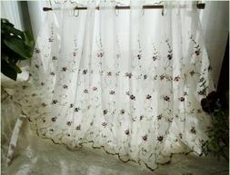 French Country Floral embroidered Net Tulle Kitchen Cafe Cur