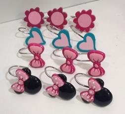 Girls Bathroom Accessory Minnie Mouse Shower Hooks Hearts Fl