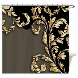 CafePress Gold And Black Leafy Flourish Shower Curtain