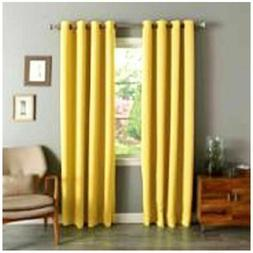 """Gorgeous Home Linen 2 Panels Solid Bright Yellow 84"""" Long Th"""