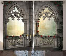 Gothic Curtains Oriental Rose and Flower Window Drapes 2 Pan