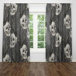 Gothic Curtains Skulls with Crows Window Treatments