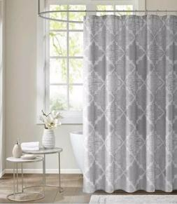 Madison Park Gray Silver Argyle Sidnee Shower Curtain New Me