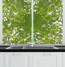 """Green Kitchen Curtains 2 Panel Home Window Drapes 55"""" X 39"""""""