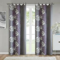 Grey Curtains For Living room, Modern Contemporary Purple Wi