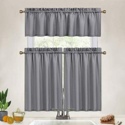 grey kitchen curtains 36 inch length set