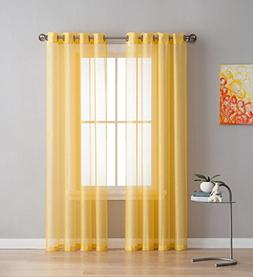 Grommet Semi-Sheer Curtains - 2 Pieces - Total Size 108 Inch