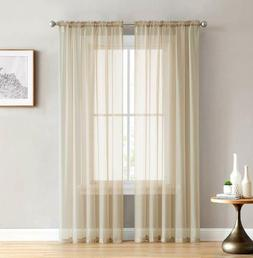 Hlc.Me Antique Taupe Sheer Voile Window Treatment Rod Pocket