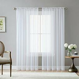 HLC.ME White Sheer Voile Window Treatment Rod Pocket Curtain