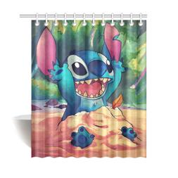 Home Decor Shower Curtain Lilo and Stitch Polyester Waterpro