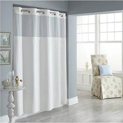 Trendy Linens Hookless Shower Curtain See Through Top Hotel