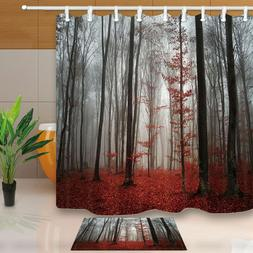 Horror Gothic Red Forest Shower Curtain Bathroom Fabric & 12