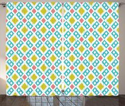 Ikat Curtains Decor by Ambesonne, Various Sized Different Ik