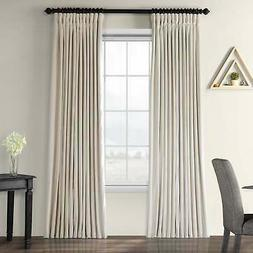 Exclusive Fabrics Ivory Velvet Blackout Extra Wide Curtain
