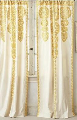 Anthropologie Ivory Yellow Embroidered Marrakech Single Curt