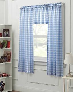 Kids Curtains Blue White Gingham Check 3pc Bedroom Window Pa